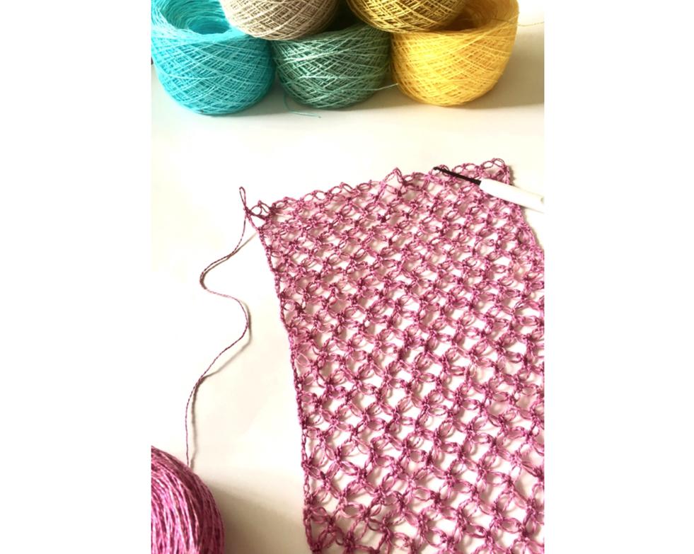 【西荻窪・講座】編み物が初心者でも!かぎ針で編む手染めリネンの七宝編みストール