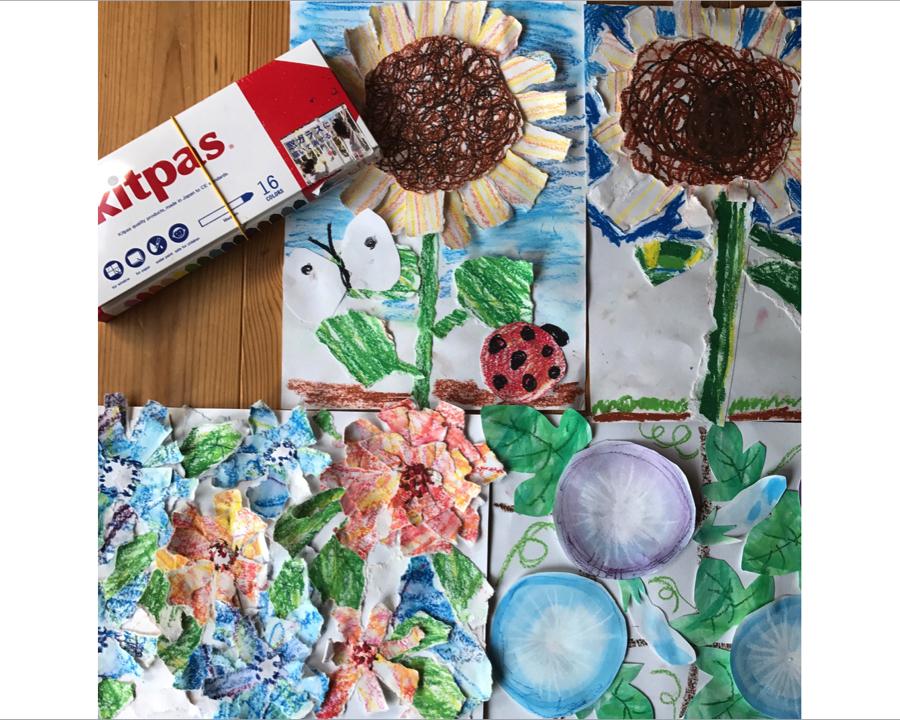 【練馬区関町・教室】夏休みキッズアート教室「お花のコラージュ」