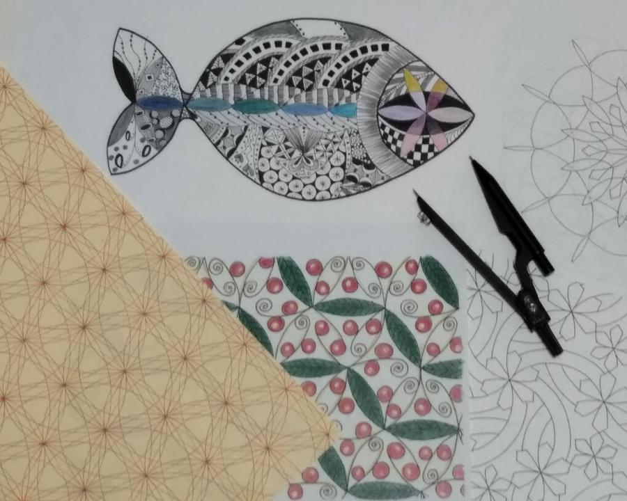 【武蔵野市武蔵境・教室】コンパスで描く自分オリジナルの模様